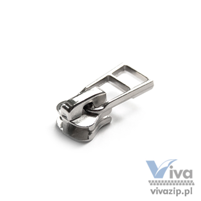 D-5020 metal slider with autolock pull, for plastic (chunky) zipper tape No. 5, available in nickel and oxide
