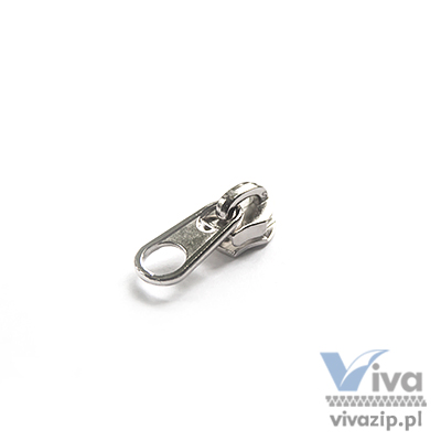 N-56S metal slider with non-lock pull, for nylon coil zipper tape No. 5, available in black color and nickel