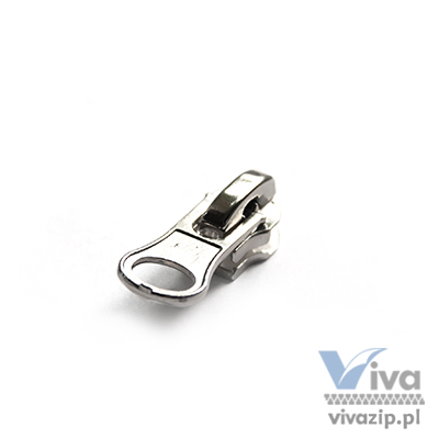 N-7006 metal slider with autolock pull, for nylon coil zipper tape No. 5, available in any color or nickel, dark nickel and oxide