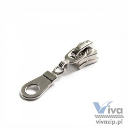 D-5073 metal slider with non-lock or autolock pull, for plastic (chunky) zipper tape No. 5, available in any color or nickel and oxide