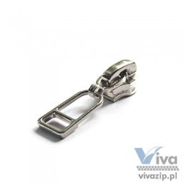 N-5047 metal slider with non-lock or autolock pull, for nylon coil zipper tape No. 5, available in nickel or oxide