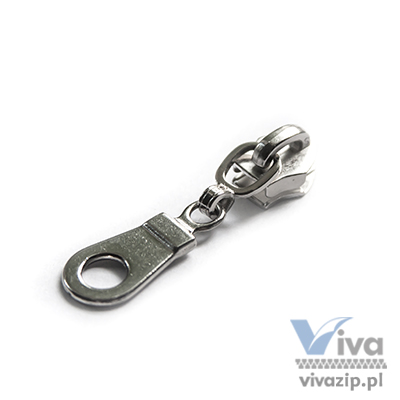 N-5048 metal slider with non-lock or autolock pull, for nylon coil zipper tape No. 5, available in any color or nickel and oxide