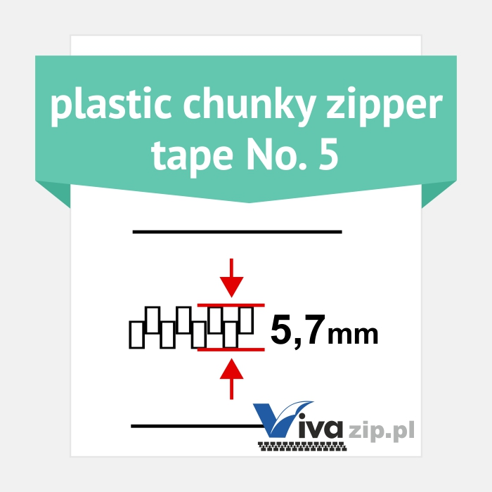 Plastic chunky zipper tape No. 5 - width