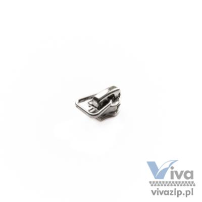 M1M Ein Schieber aus Metall mit Sperre, für den Spiral-Band Nr. 5 erhältlich in Nickelschicht. Perfekt für die Anbringung verschiedener Stoff-, Gummi- oder Leder reißverschlussanhänger