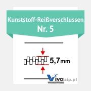 Die Spiralbreite für Kunststoff-Reißverschluss mit Reißverschlussbänder Nr. 5