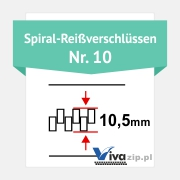 Die Spiralbreite für Spiral-Reißverschlüssen mit Reißverschlussbänder Nr. 10