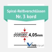 Die Spiralbreite für Spiral-Reißverschlüssen mit Reißverschlussbänder Nr. 3 kord