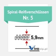 Die Spiralbreite für Spiral-Reißverschlüssen mit Reißverschlussbänder Nr. 5