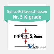 Die Spiralbreite für Spiral-Reißverschlüssen mit Reißverschlussbänder Nr. 5 K-grade