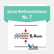Die Spiralbreite für Spiral-Reißverschlüssen mit Reißverschlussbänder Nr. 7