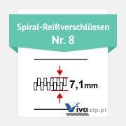 Die Spiralbreite für Spiral-Reißverschlüssen mit Reißverschlussbänder Nr. 8
