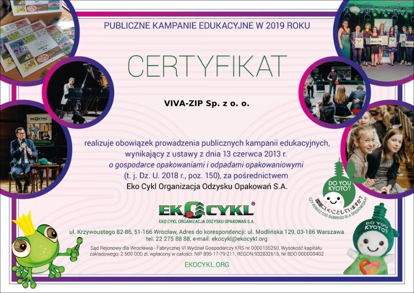 Certyfikat Eko Vivazip - producent zamkow blyskawicznych