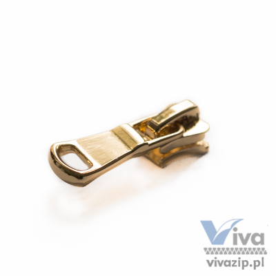 D-423-C suwadło do zamka błyskawicznego, do taśmy kostkowej nr 5, dostępne w złocie polerowanym, niklu polerowanym i ciemnym niklu polerowanym