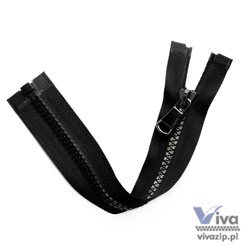 Plastic No. 5 tape, black trim with dark nickel teeth