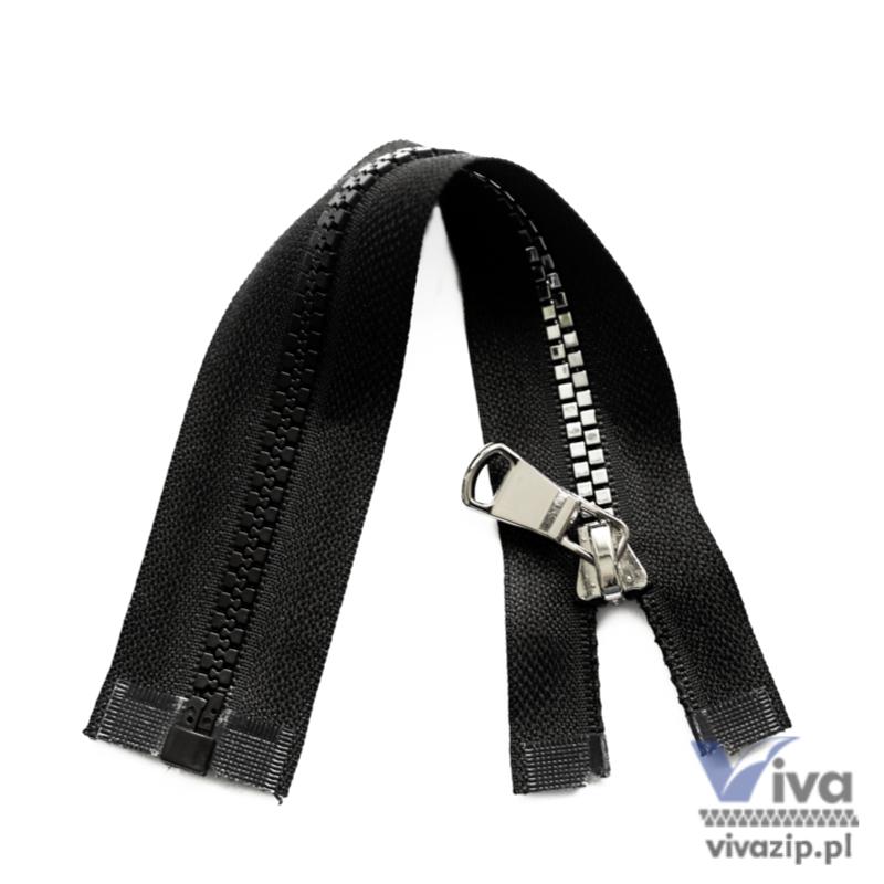 Plastic No. 5 zipper, square type, black trim with polished nickel teeth